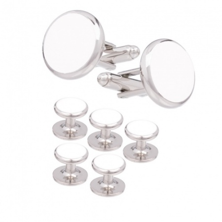 White Insert Dress Stud and Cufflink Set